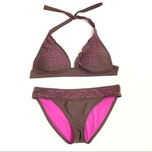 Mossimo brown purple laser cutout halter bikini